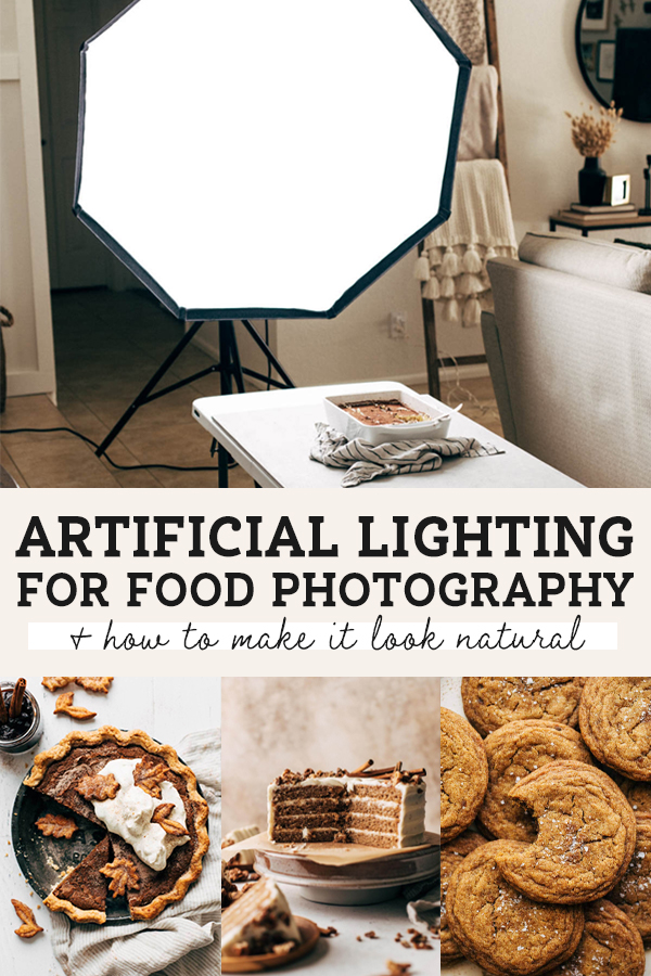 artificial lighting for food photography pinterest graphic