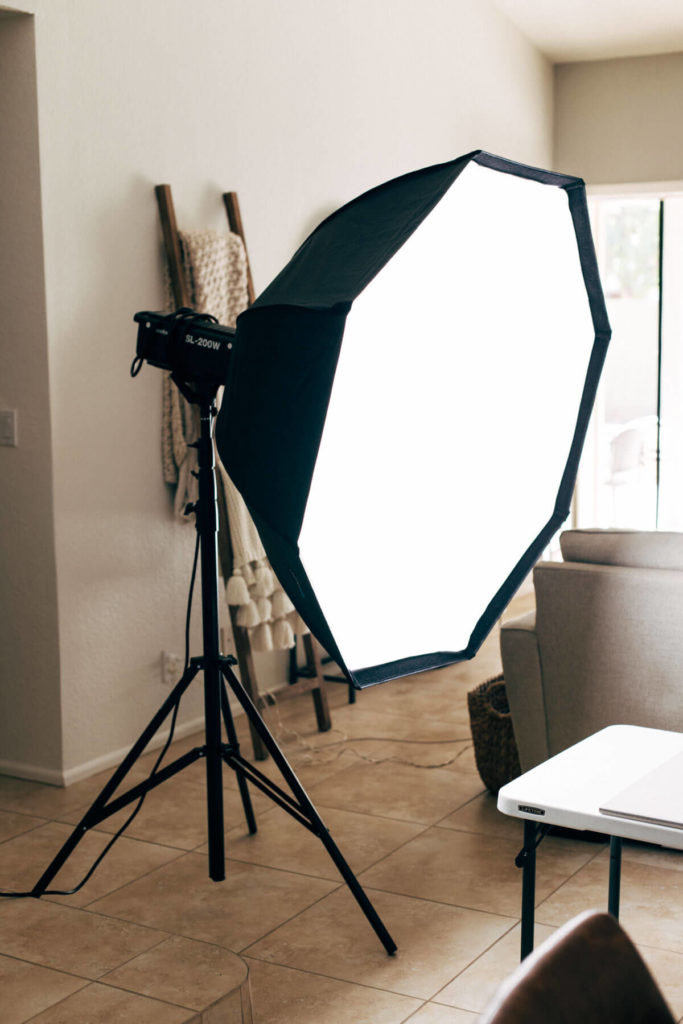 a large softbox on an LED light