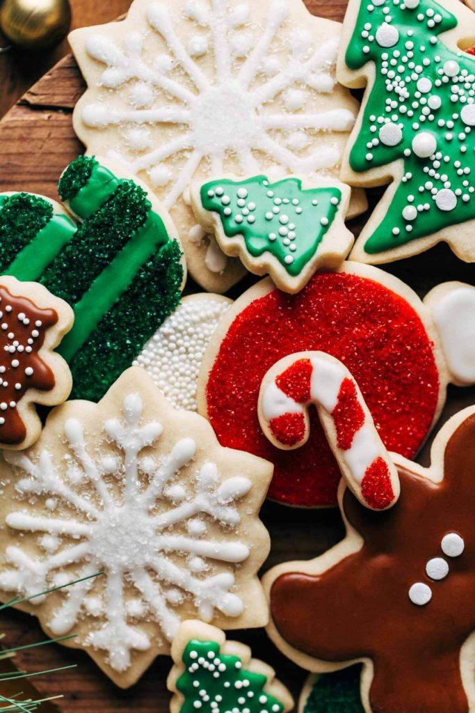 close up on the tops of decorated christmas sugar cookies