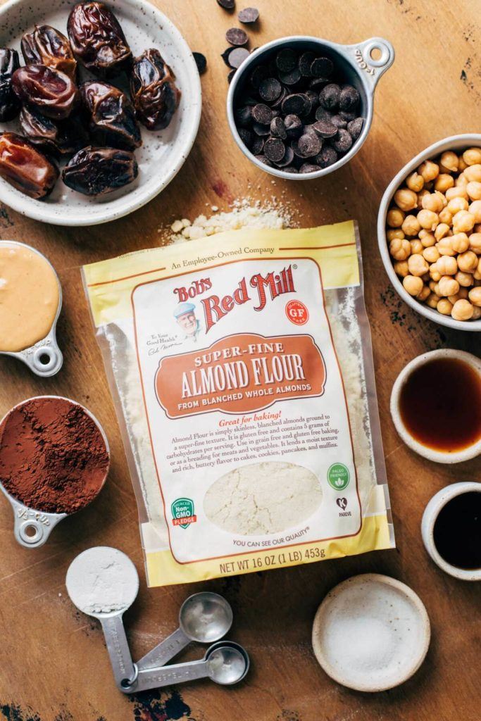 an arrangement of vegan cookie dough ingredients
