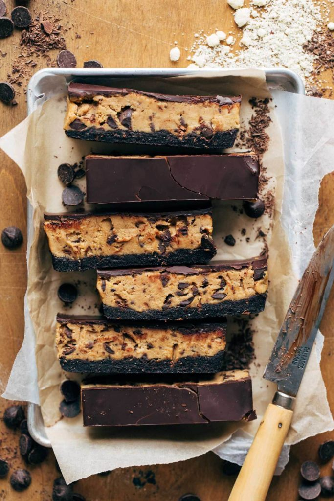 slices of cookie dough bars on a small metal tray