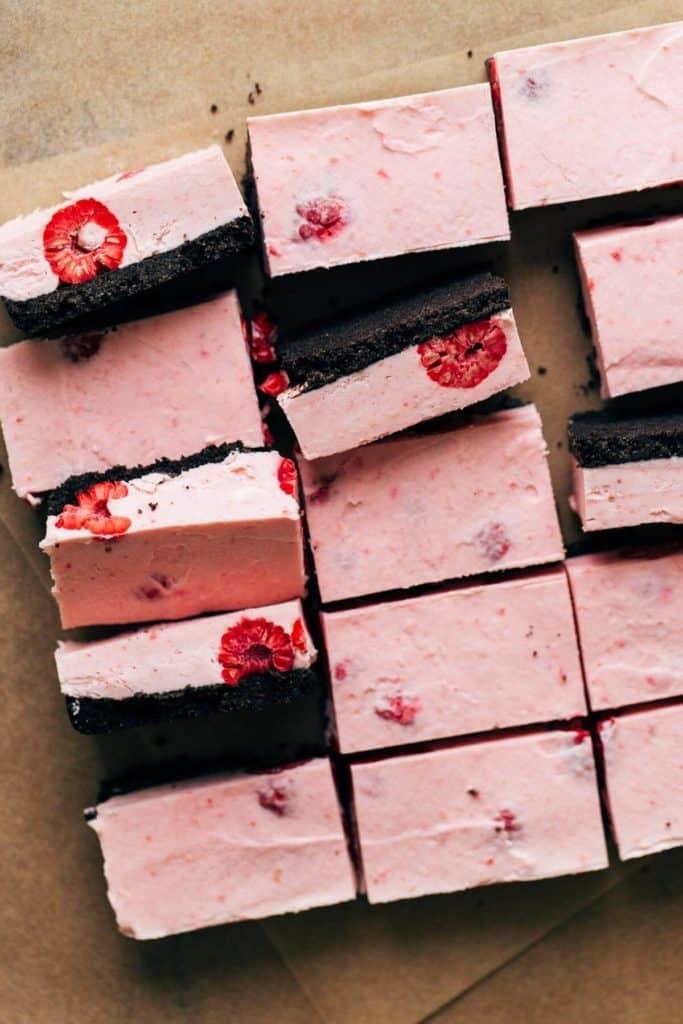 sliced raspberry mousse bars