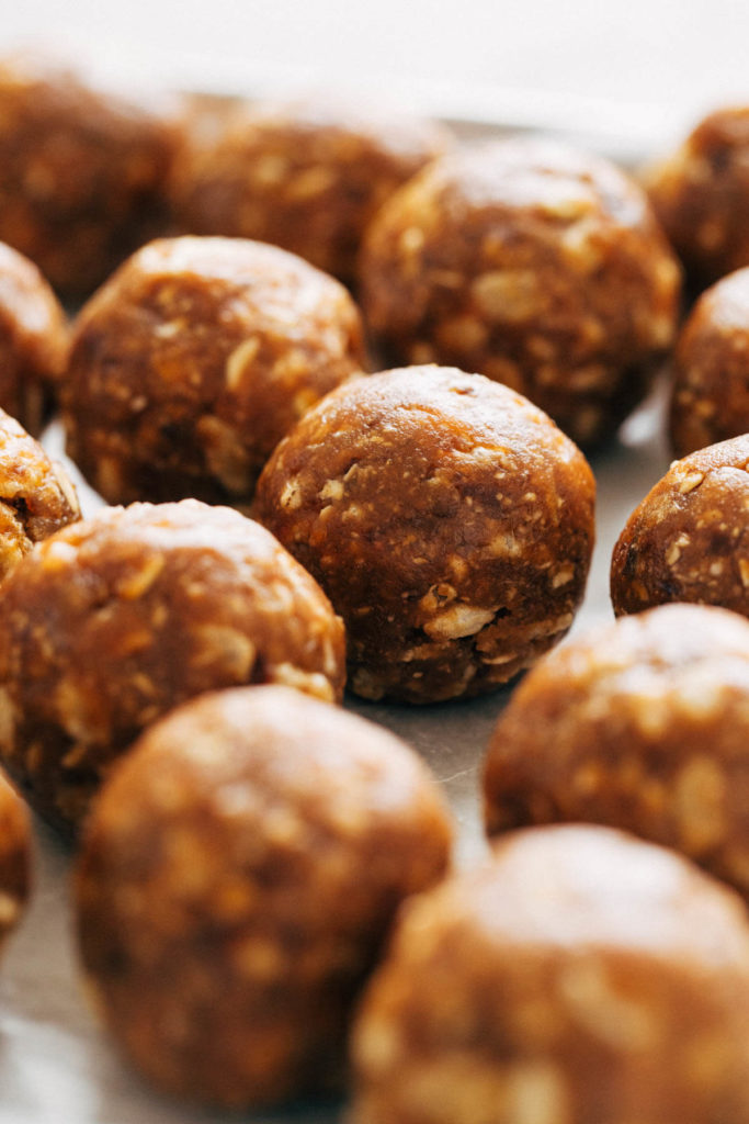 close up on rolled energy balls