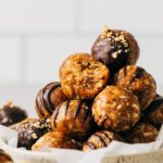 a stack of peanut butter energy balls