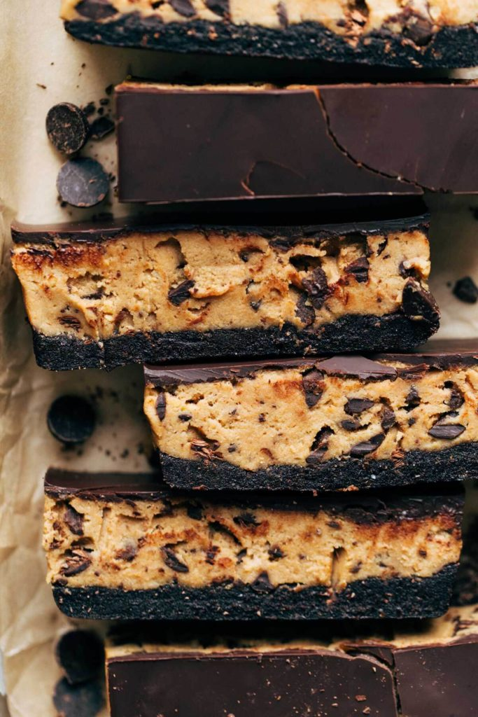 close up on slices of cookie dough bars