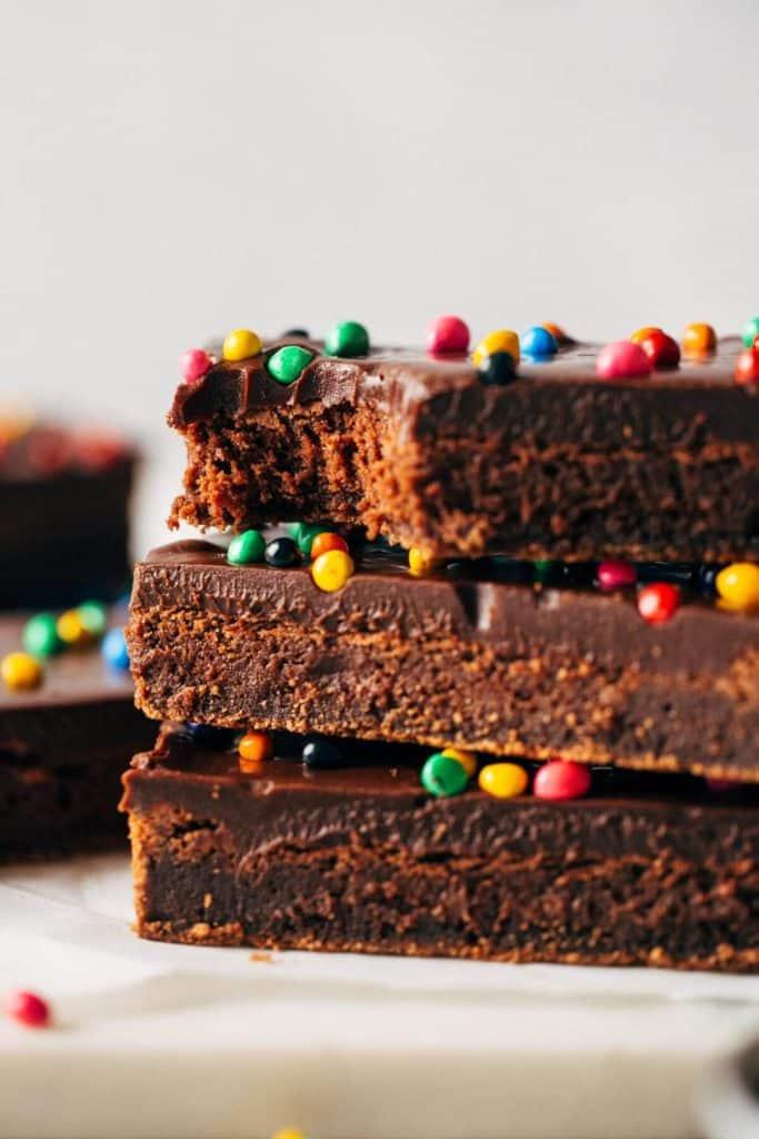 a stack of copycat cosmic brownies