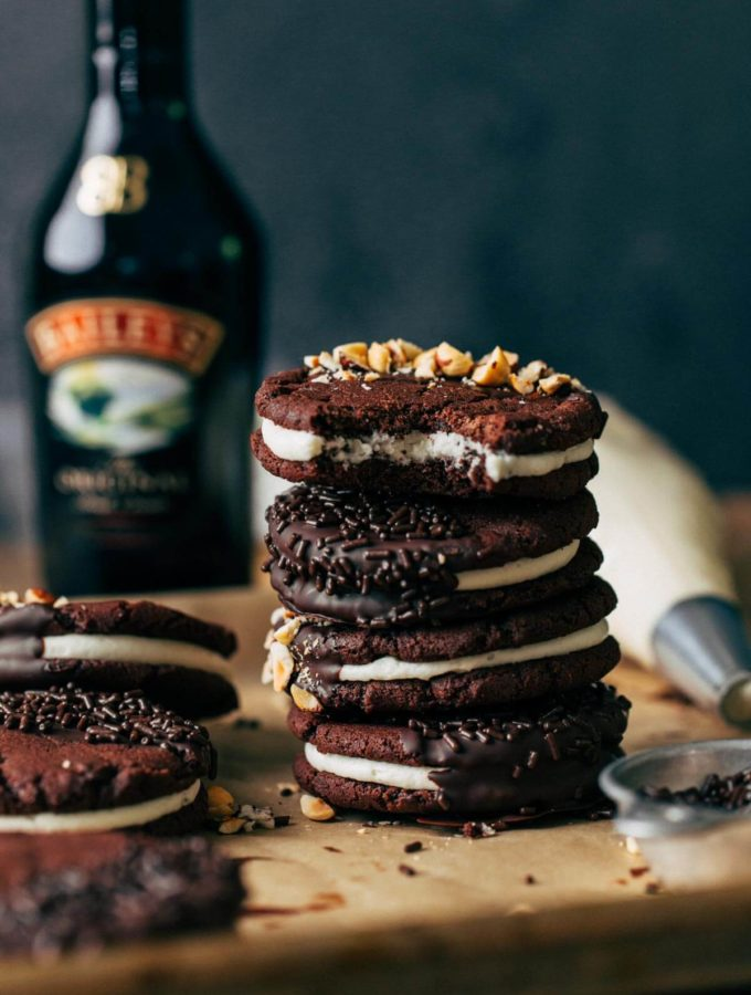 a stack of irish cream filled chocolate sandwich cookies