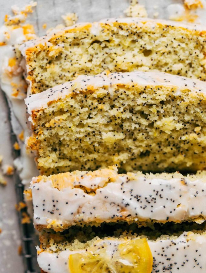 close up on slices of lemon poppy seed bread