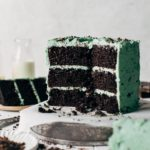 the inside of a sliced mint chocolate layer cake