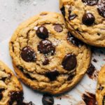 close up on the top of a freshly baked vegan chocolate chip cookies