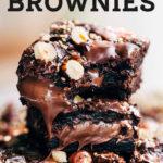 hazelnut tahini brownies pinterest graphic