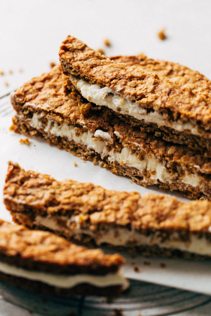 stacks of oatmeal cream pie cookie bars