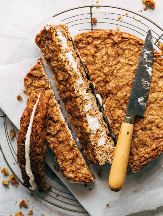 the top of a giant oatmeal cream pie cut into slices