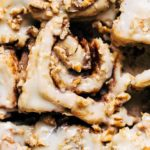 close up on the top of a banana cinnamon roll