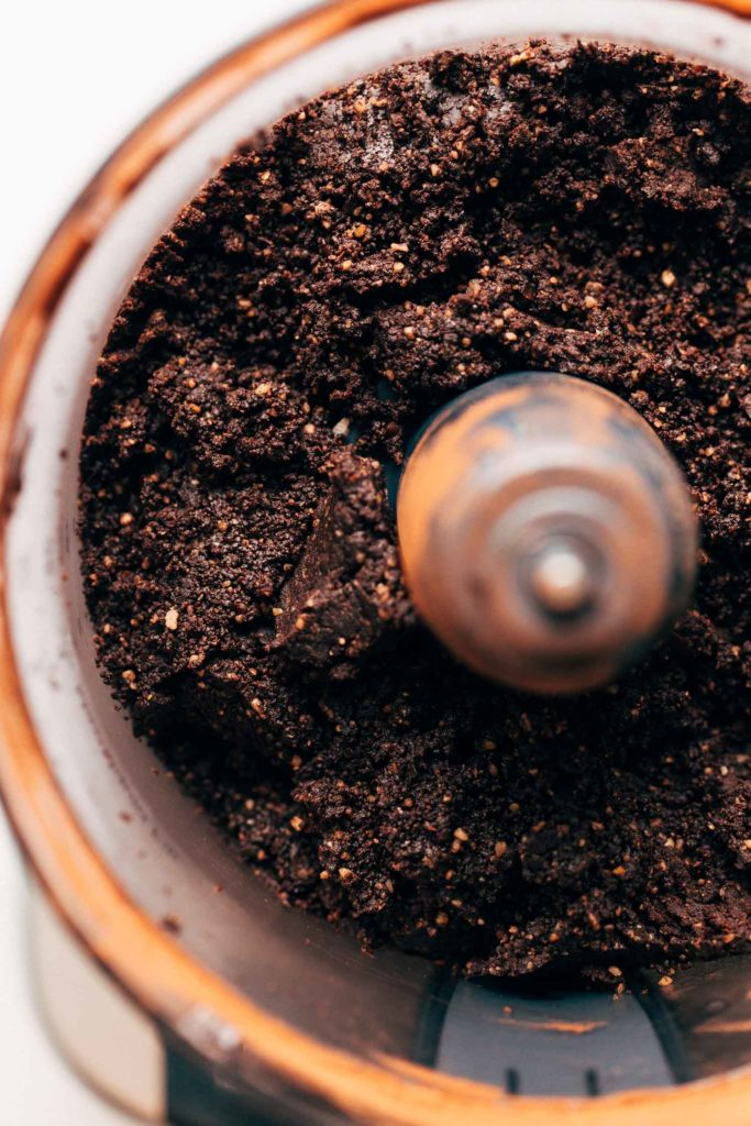 raw brownie in a food processor