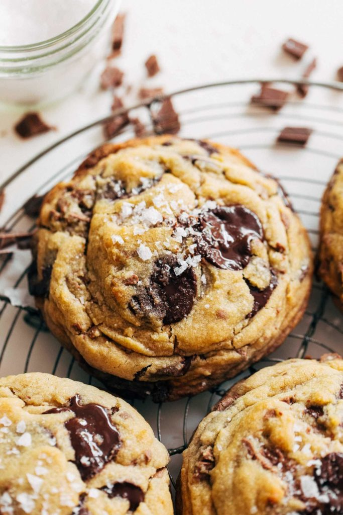 close up on a thick chocolate chip cookie