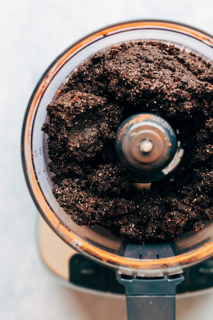 date brownie crust blended in a food processor