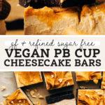 vegan peanut butter cup cheesecake pinterest graphic