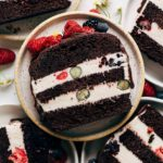 close up on a slice of vegan ice cream cake