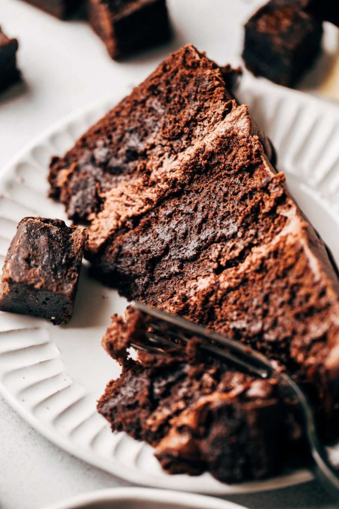 close up on the texture of a fudgy slice of brownie cake