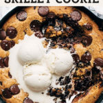 chocolate chip skillet cookie pinterest graphic