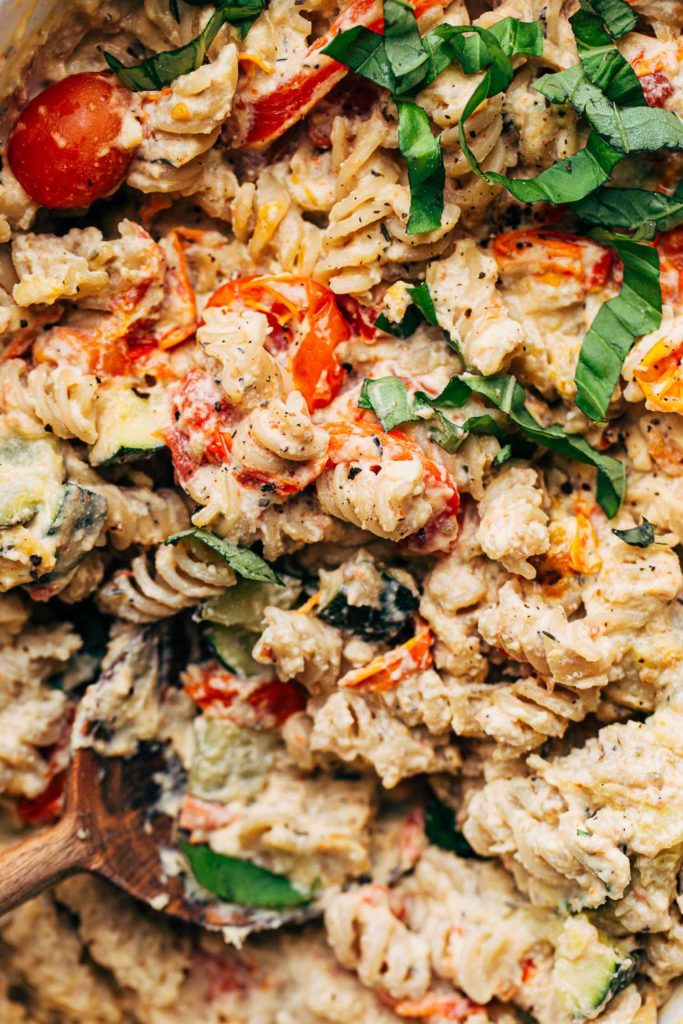 close up on the texture of creamy vegan baked feta pasta