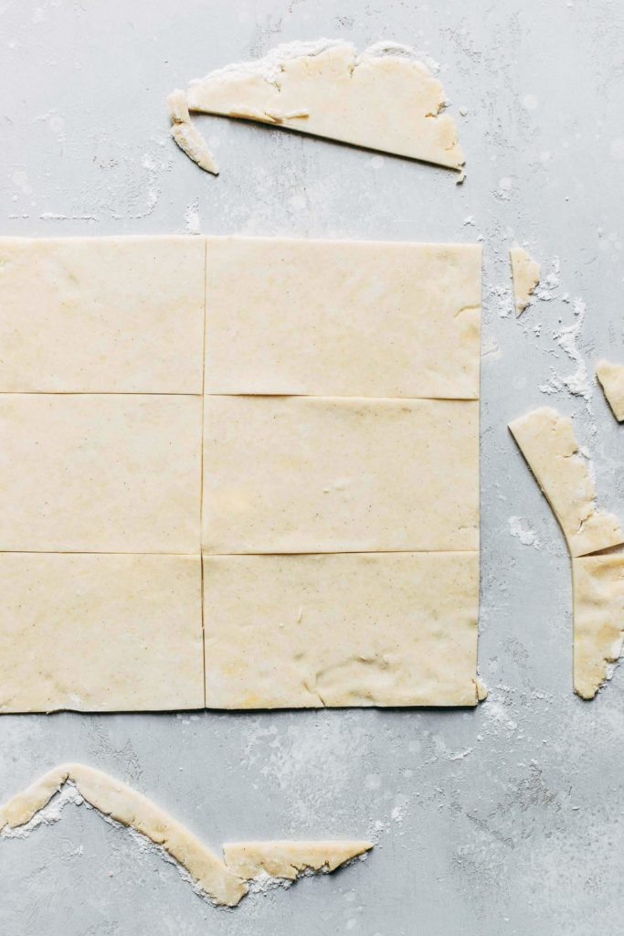 pie dough cut into 6 rectangles