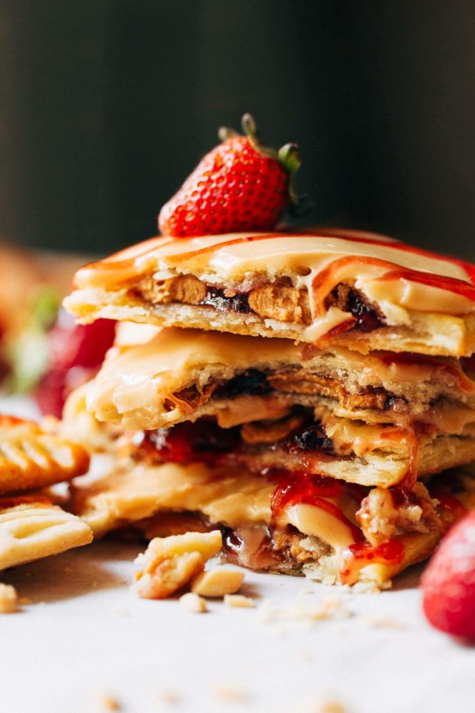 a stack of peanut butter and jelly pop tarts