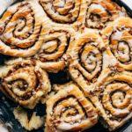 maple cinnamon rolls close up