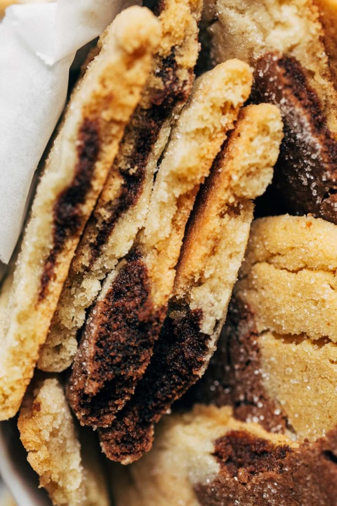 close up on the texture of a soft and chewy peanut butter sugar cookie