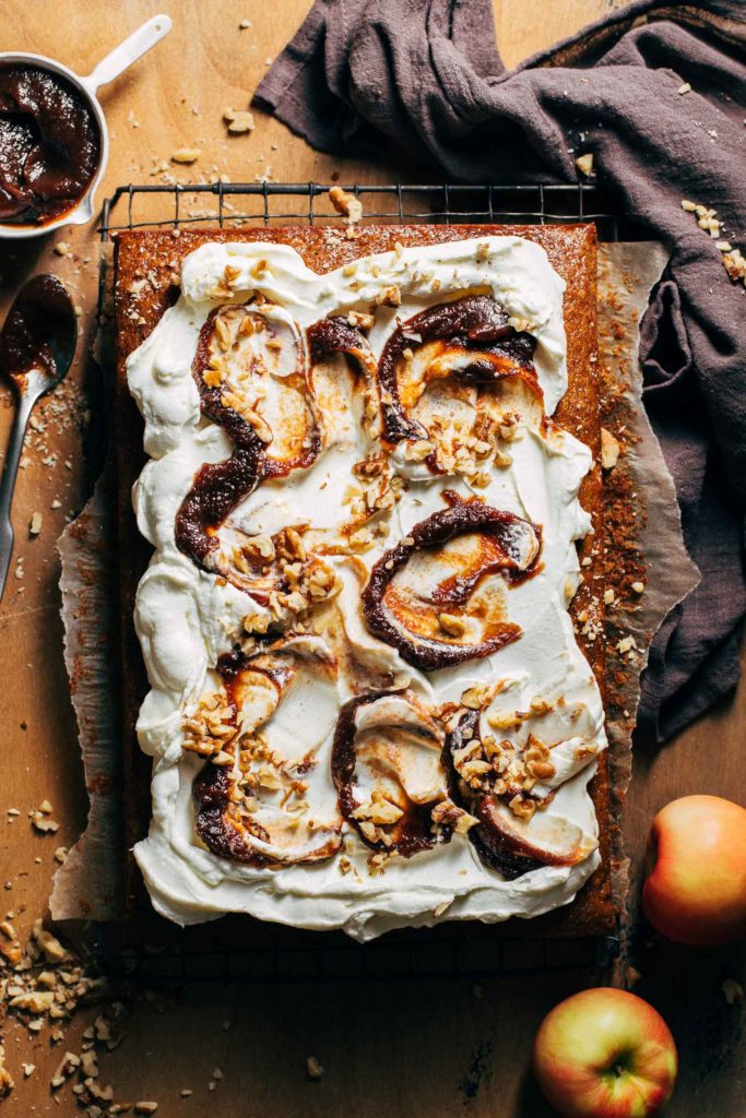 the top of a frosted apple butter spice cake