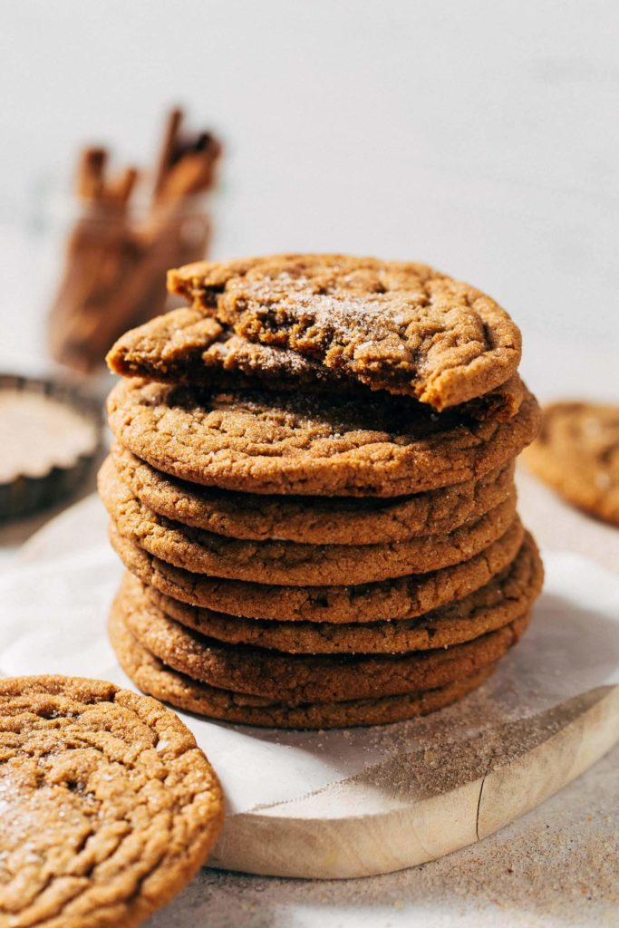 a stack of chewy spice cookies