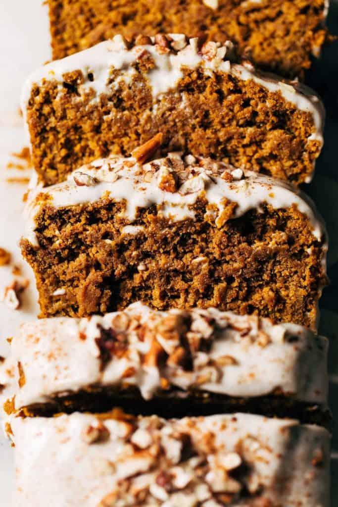 close up on the texture of moist pumpkin bread