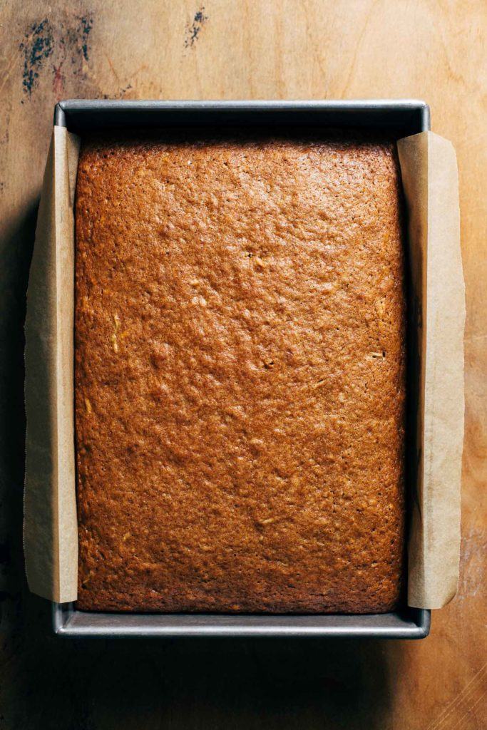 spice cake baked in a baking pan