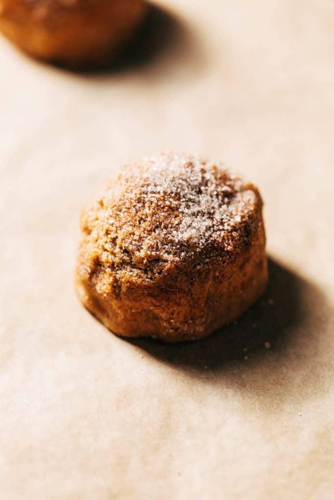 a spice cookie dough ball coated in cinnamon sugar