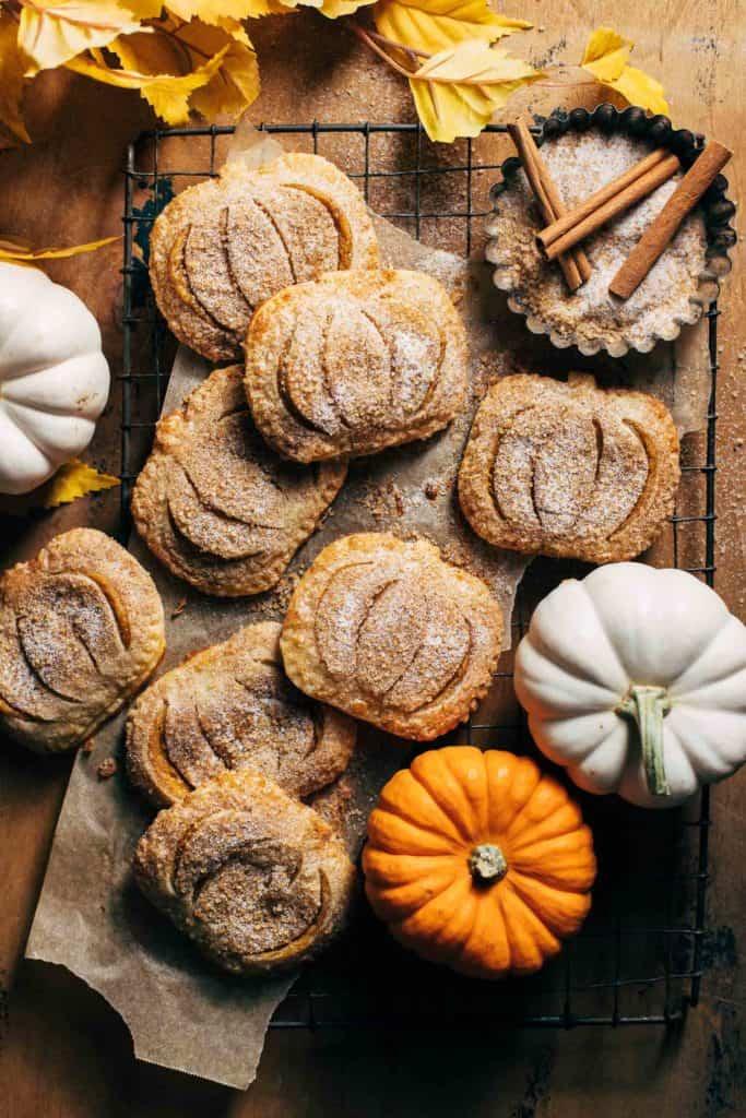 mini pumpkin pies on a cooling rack